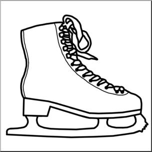 Clip Art: Ice Skate B&W I abcteach.com.