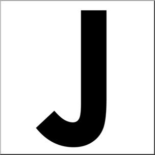 Clip Art: Alphabet Set 00: J Upper Case BW I abcteach.com.