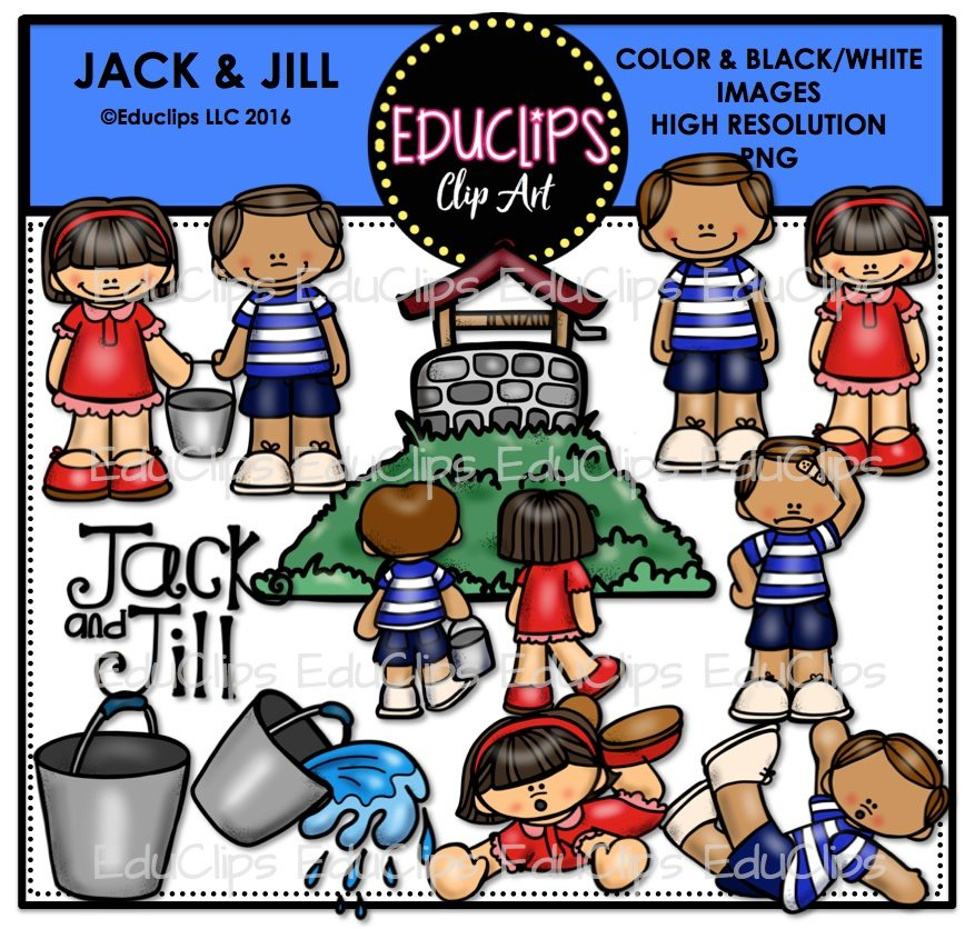 Jack and Jill Nursery Rhyme Clip Art Bundle (Color and B&W).