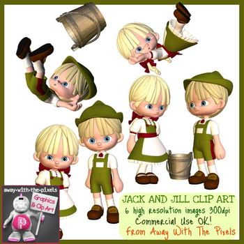Jack and Jill Nursery Rhyme Clip Art.