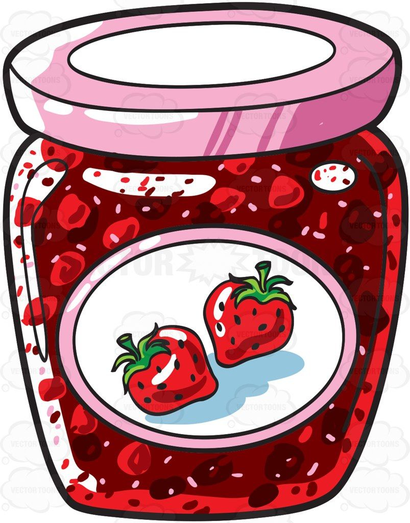 A jar of strawberry jam #cartoon #clipart #vector.