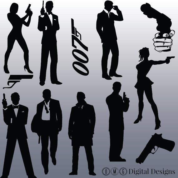 12 James Bond Silhouette Images Digital Clipart Images.