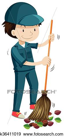 Janitor sweeping the fallen leaves Clip Art.