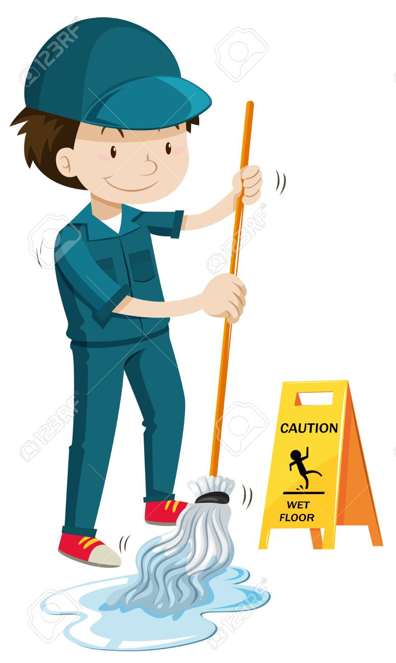 Janitor mopping the wet floor illustration.