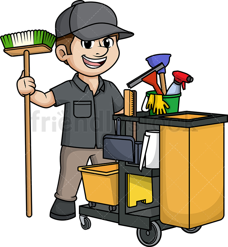 Male Janitor With Cleaning Cart.