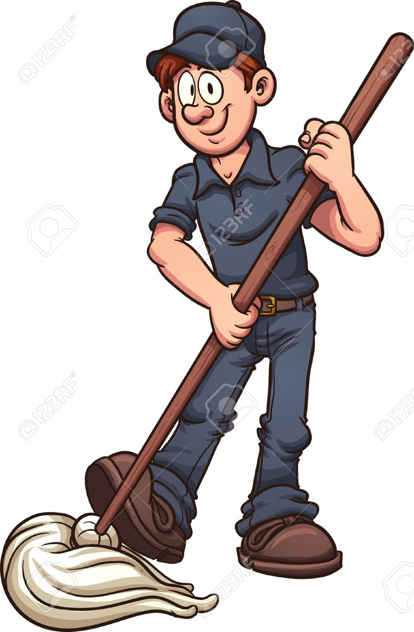 Cartoon janitor. Vector clip art illustration with simple gradients.