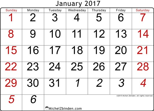 Clipart January 2017 Calendars.