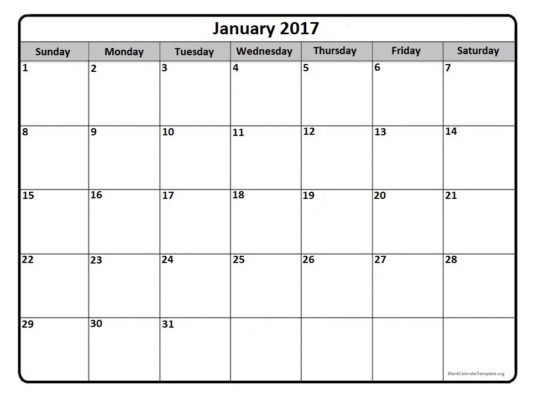 January 2017 Calendar Clipart.