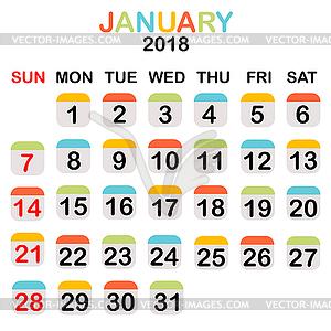 2018 Clipart Calendar.
