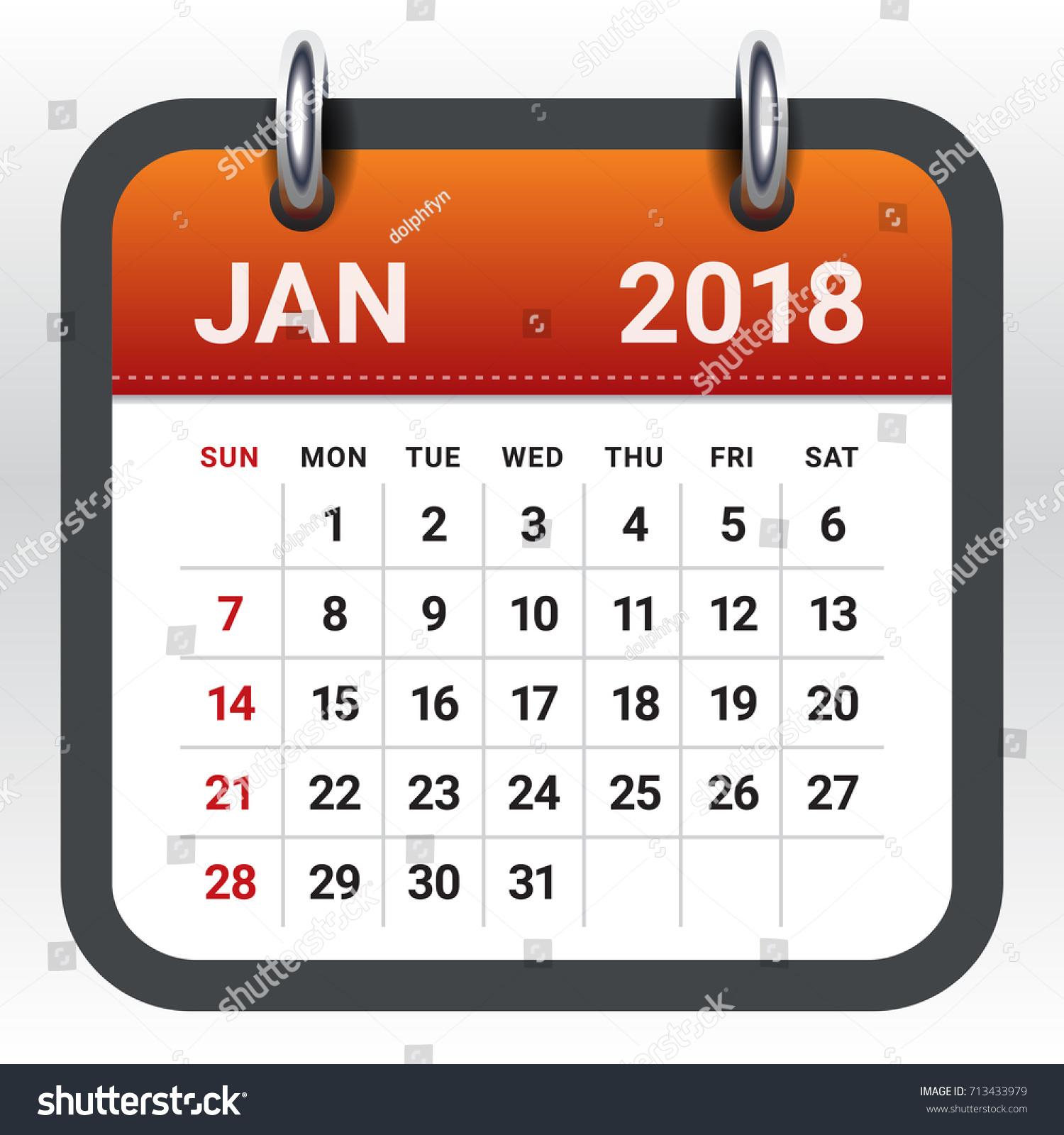Jan Calendar Clipart.