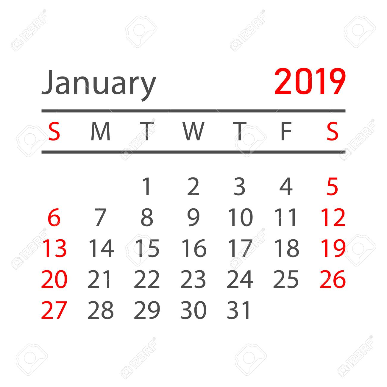 Calendar january 2019 year in simple style. Calendar planner...
