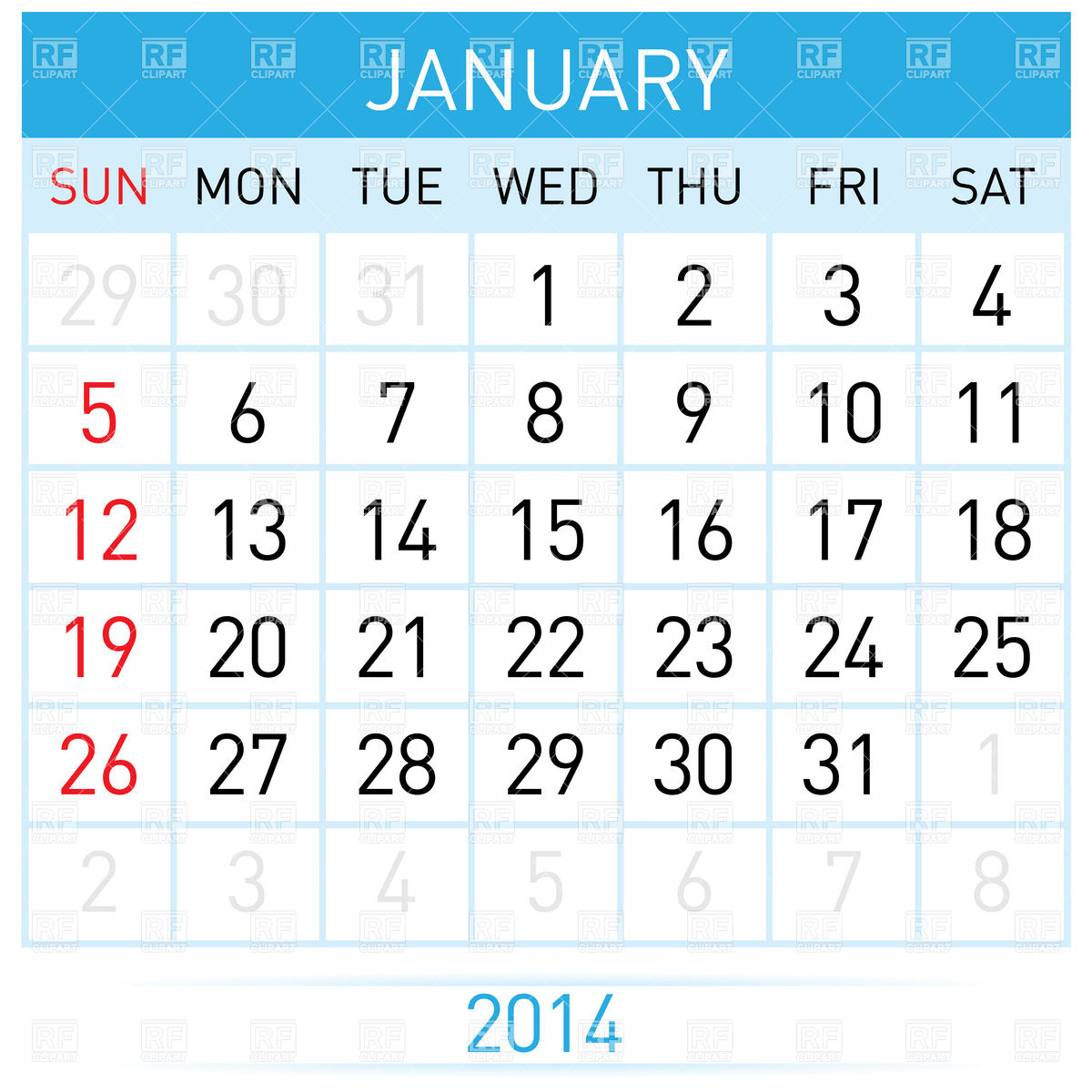 January 2014 month calendar Stock Vector Image.