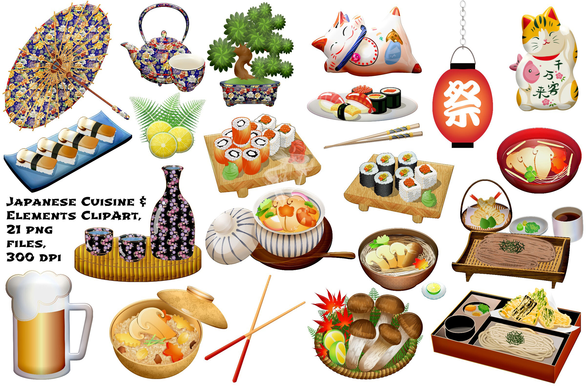 Japanese Food and Elements Clip Art By Me and Ameliè.