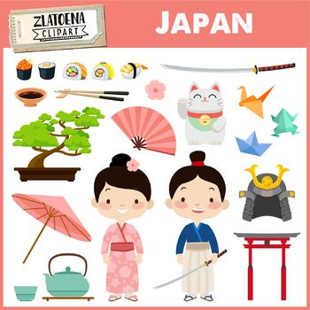 Japan clipart Japanese clipart Geisha Samurai clipart Asia.