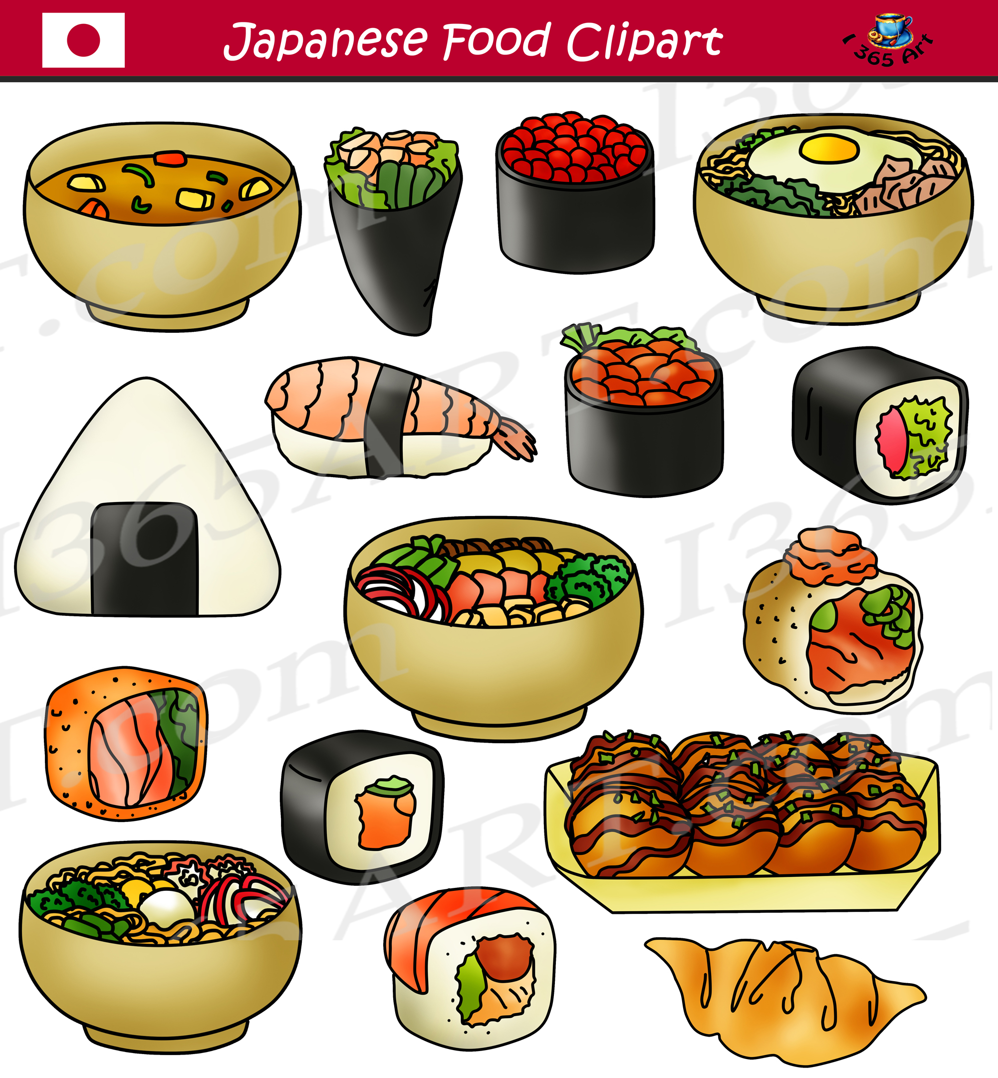 Japanese Food Clipart Sushi Commercial Graphics.