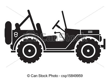 Clipart Vector of Jeep silhouette.