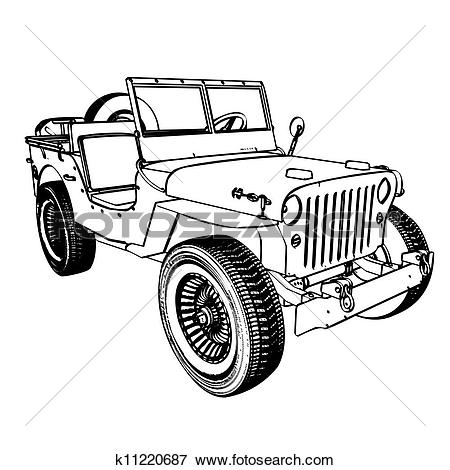 Clipart of Cartoon jeep k13684232.