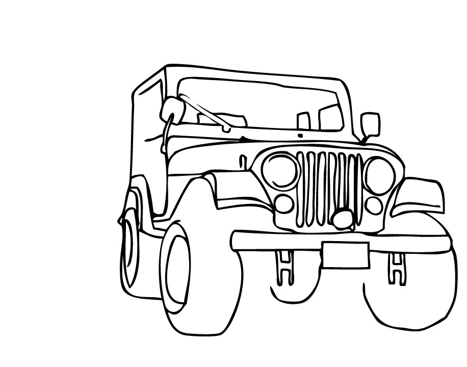 Line Drawing Jeep : Clipart jeep outline clipground