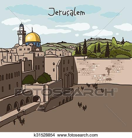 Jerusalem, Israel old city skyline Clipart.