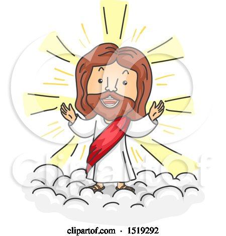 Clipart of a Cartoon Jesus Christ Walking on Clouds.