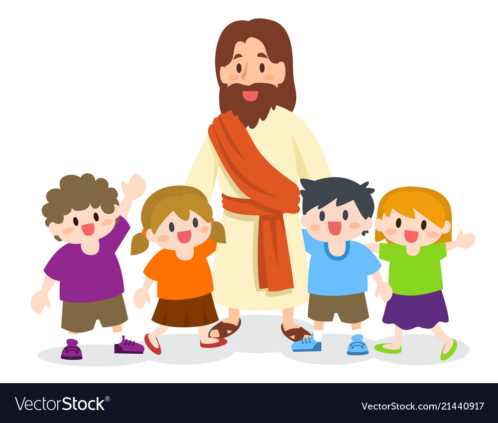 Jesus christ with group of children.