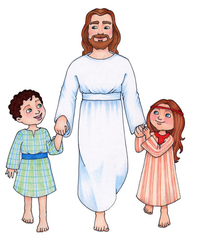 Clip Art Of Jesus With Children Of Vector, Clipart, PSD.