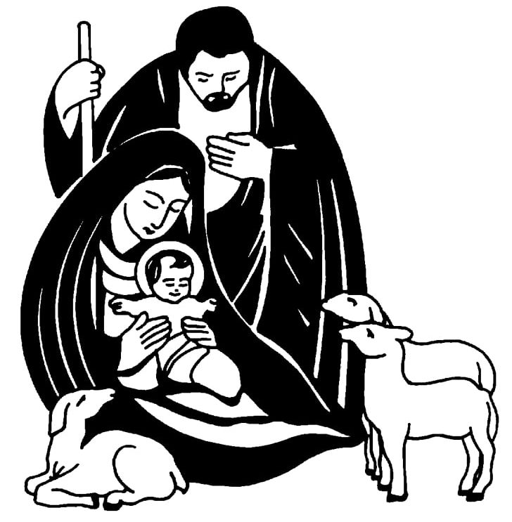 Nativity Scene Nativity Of Jesus Christmas Black And White PNG.