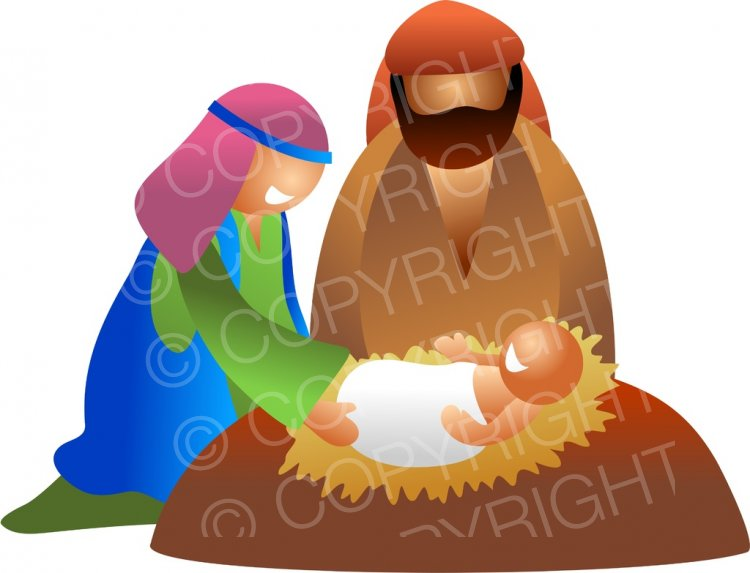 Mary and Joseph and Baby Jesus Christmas Clip Art.