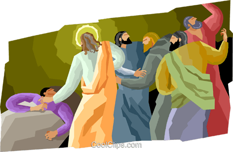 Jesus healing the sick Royalty Free Vector Clip Art.