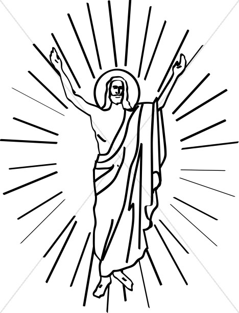 Line Drawn Risen Christ in Halo.