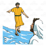 Walking on Water, Jesus and Peter.