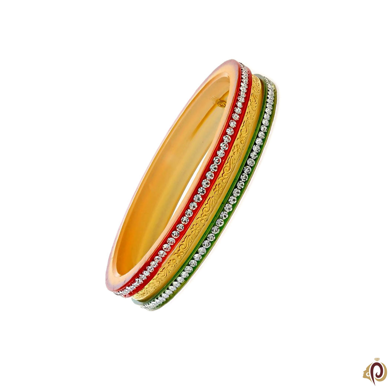 Fancy White Stone & Colour Designer Gold Bangles.