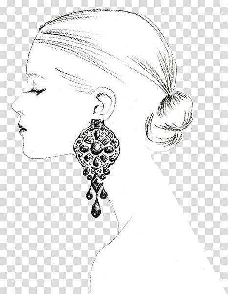 Earring Drawing Jewellery Sketch, jewellery model girls.