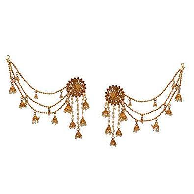 Buy Zephyrr Statement Bahubali Earrings White Pearl Beaded.