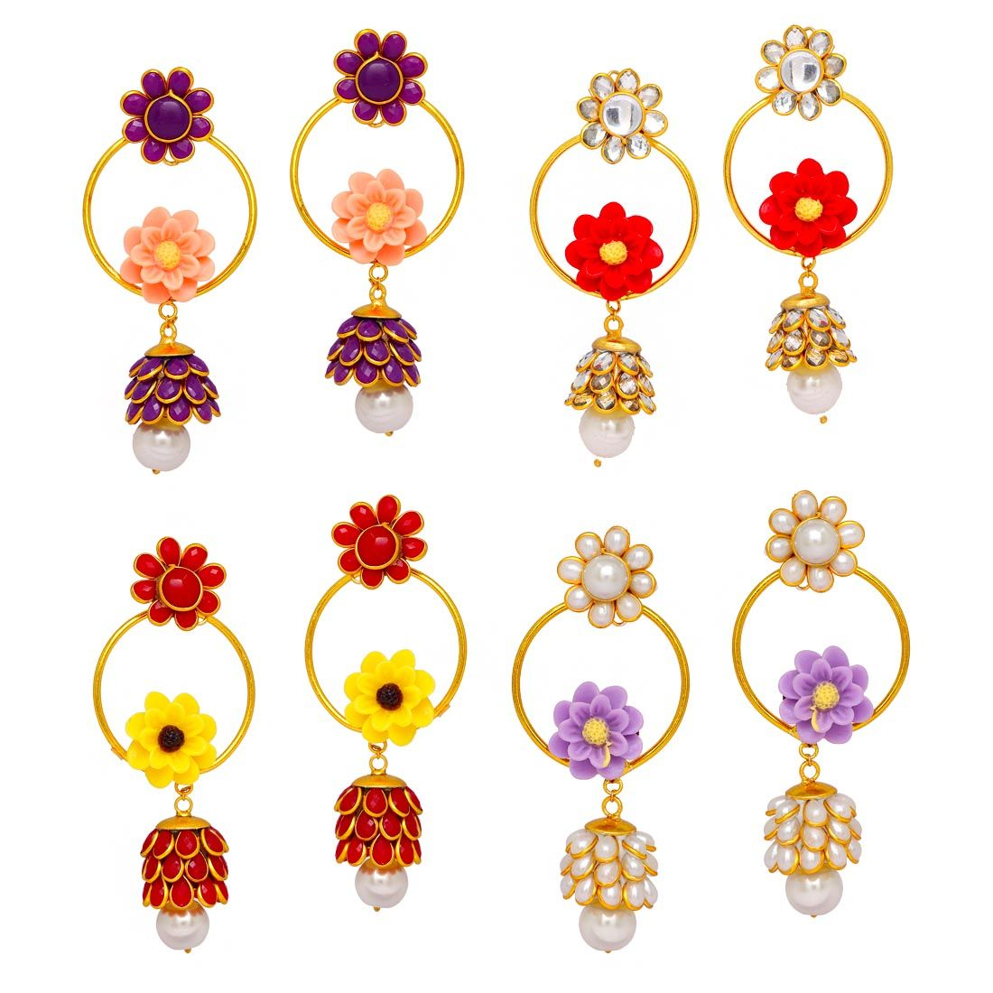 Gold Jhumki Earrings Pair Of 4 Jewellery Gift, jewellery.