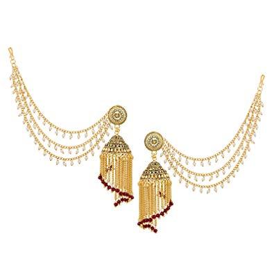 The Luxor Fashion Jewellery Gold Plated Bahubali Long Chain Tassel Pearl  Jhumki Earrings for Stylish Women And Girls.