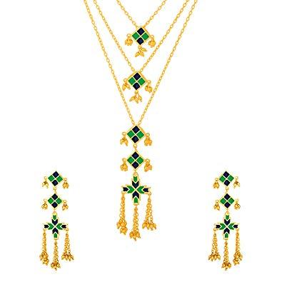 Buy Voylla Phulkari Hariyali Necklace Set Jewellery for.