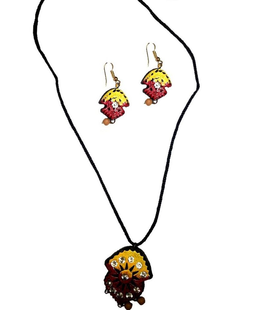 Kreasions Yellow And Red Stone Terracotta Jewellery.