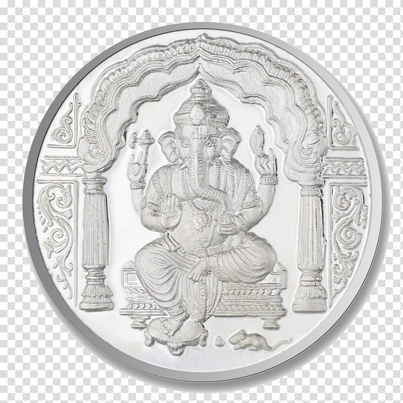 Ganesha Drawing, Silver Coin, Jewellery, Coin Collecting.
