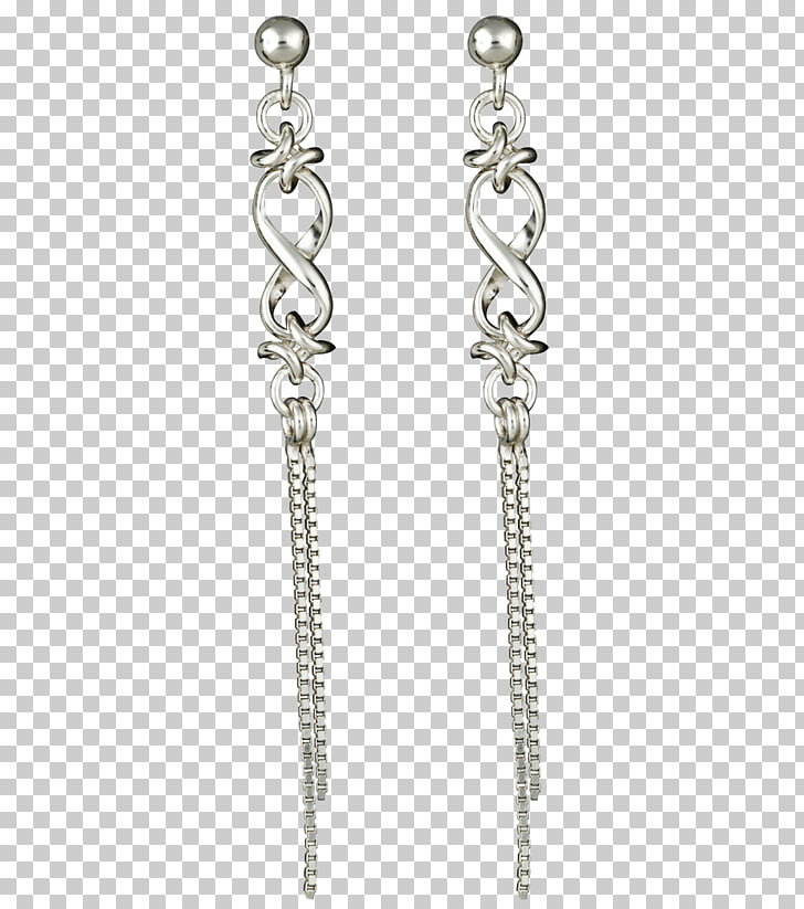 Earring Jewellery Silver Necklace Chain, chain PNG clipart.