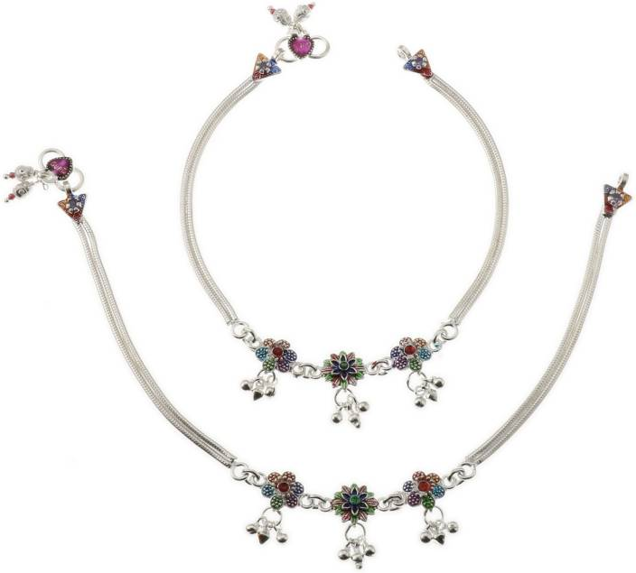 GUPTA PAYALS Authentic Fancy Silver Anklet (Payal) Silver.