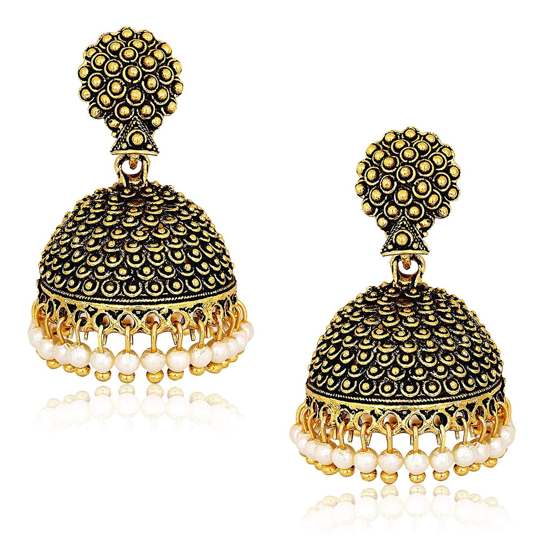 MEENAZ Oxidised Latest Traditional Stylish Oxodised Gold Pearl Moti Jhumkas  Jhumka Jhumki Earrings for Women Girls design.