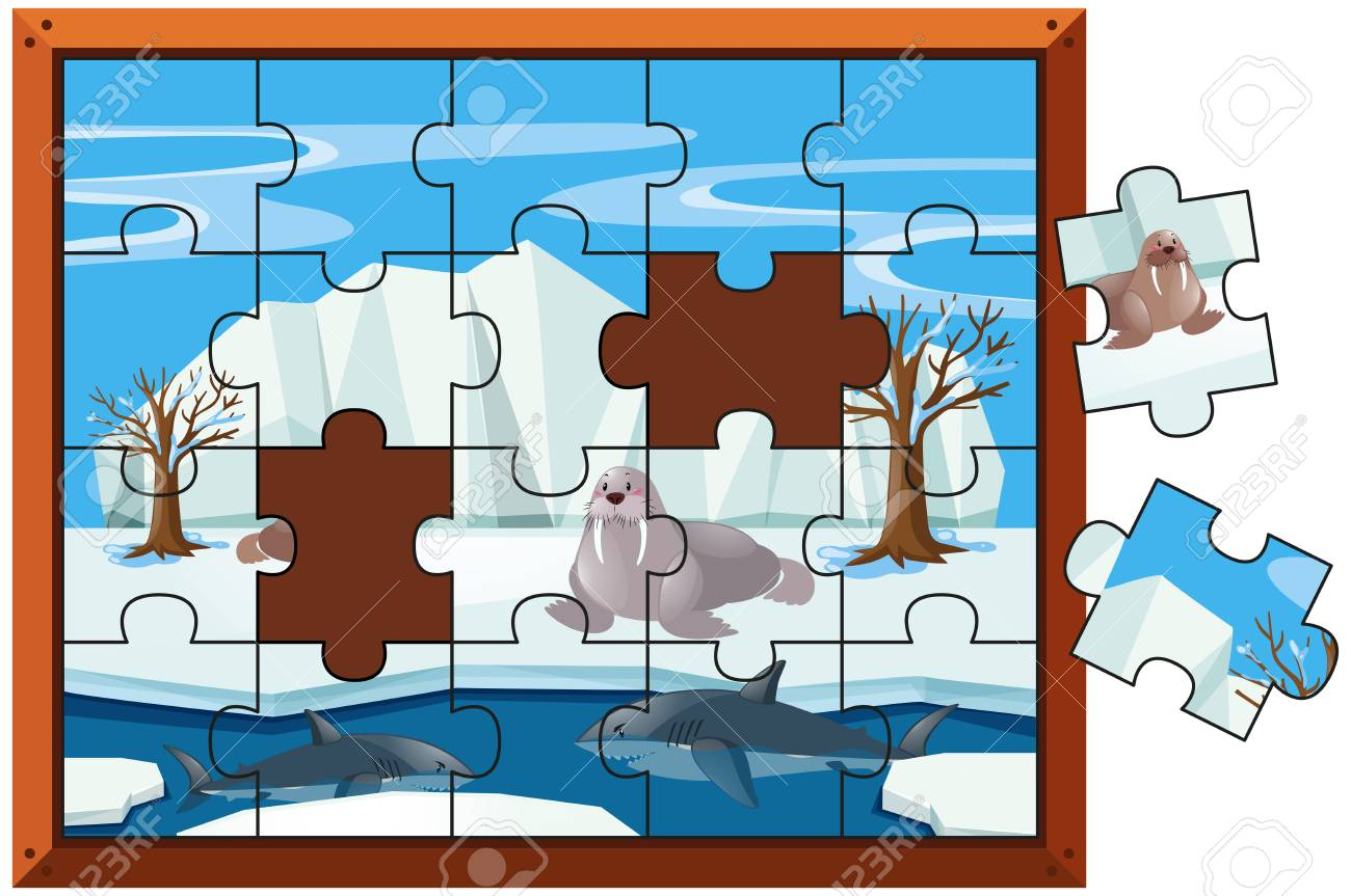 Jigsaw puzzle pieces of walrus and sharks illustration.
