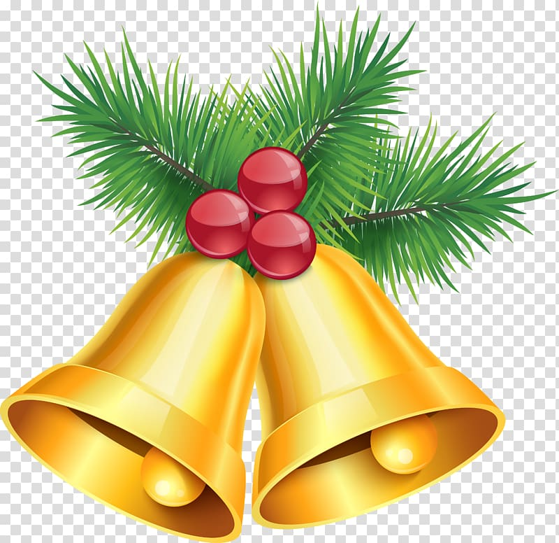 Jingle bell , Golden bells transparent background PNG.