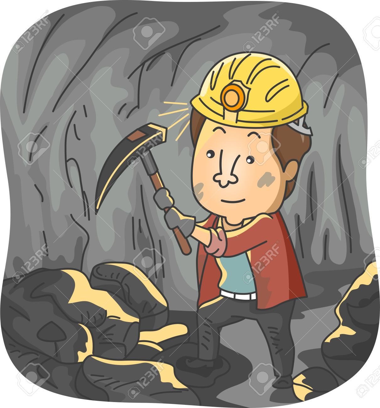 Illustration Featuring a Man Mining Coal.