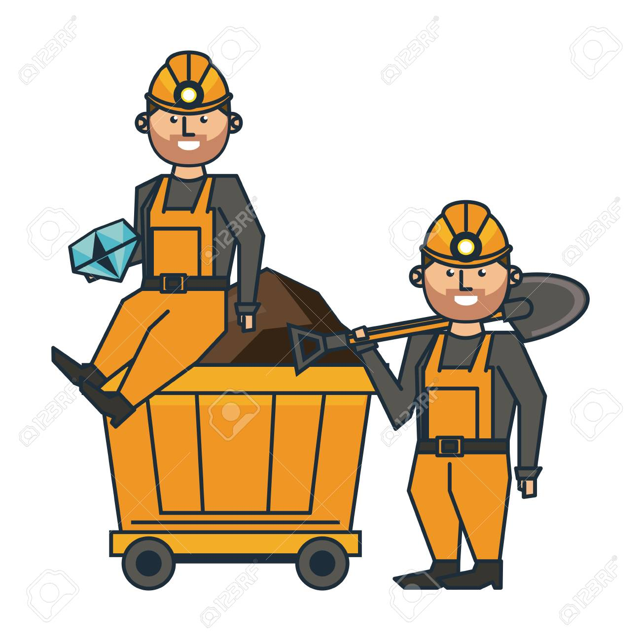 Mining workers with tools and cart wagon vector illustration...
