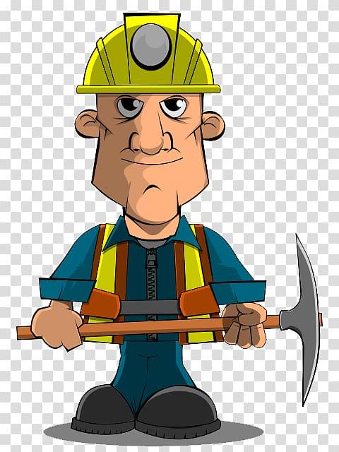 Male construction worker illustration, Coal mining Miner.