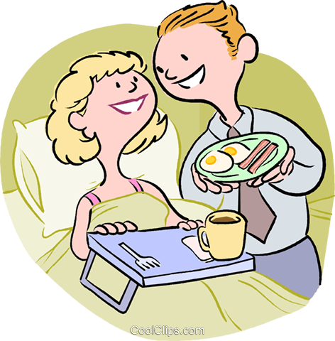 Husband serving wife breakfast in bed Royalty Free Vector.