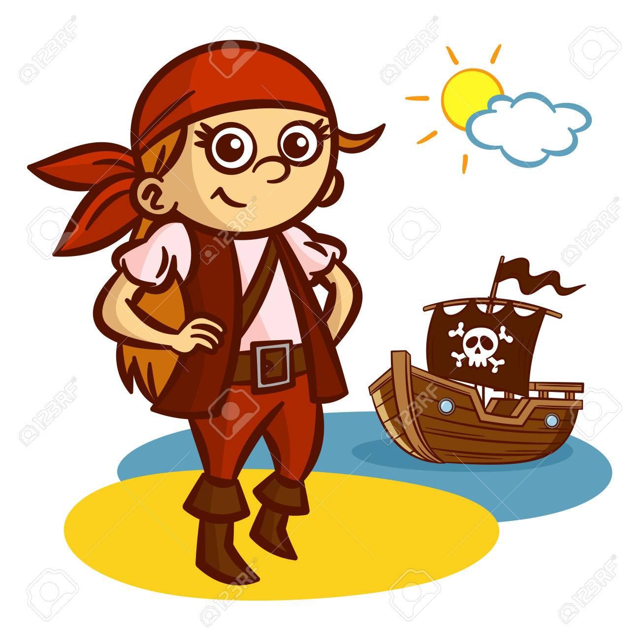 Funny Pirate Girl Ship Jolly Roger Vector Clipart.