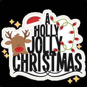 A Holly Jolly Christmas title svg scrapbook clip art christmas cut.